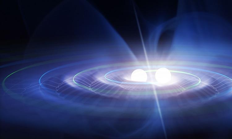 Ilustração de um sistema binário produzindo ondas gravitacionais