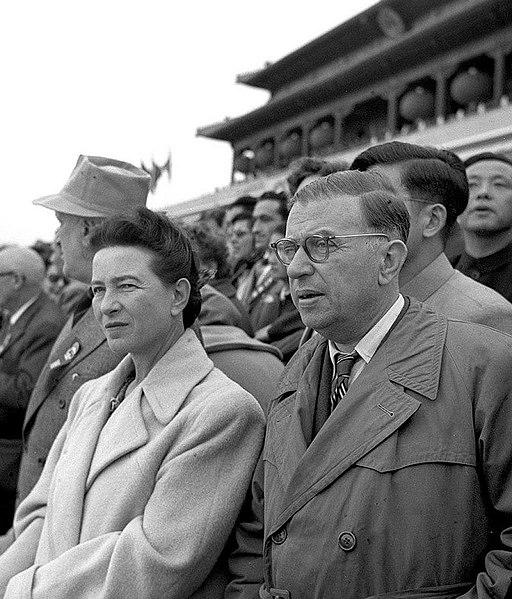 Jean-Paul Sartre e Simone de Beauvoir em Pequim, no ano de 1955.