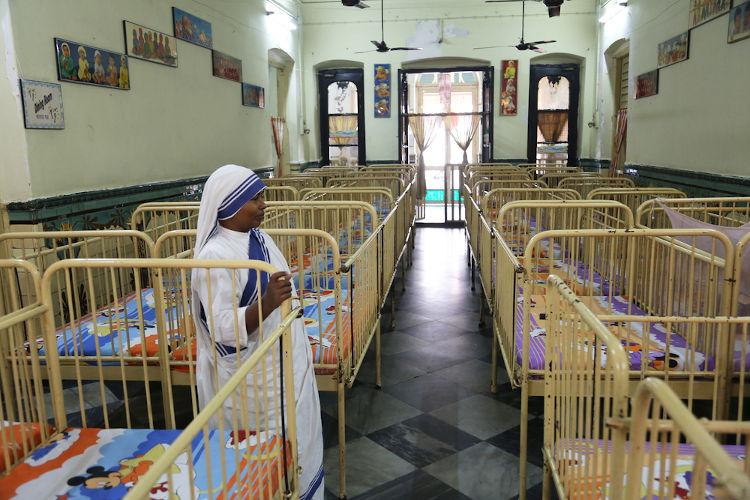 Orfanato mantido pelas Missionárias da Caridade em Calcutá, na Índia.[2]