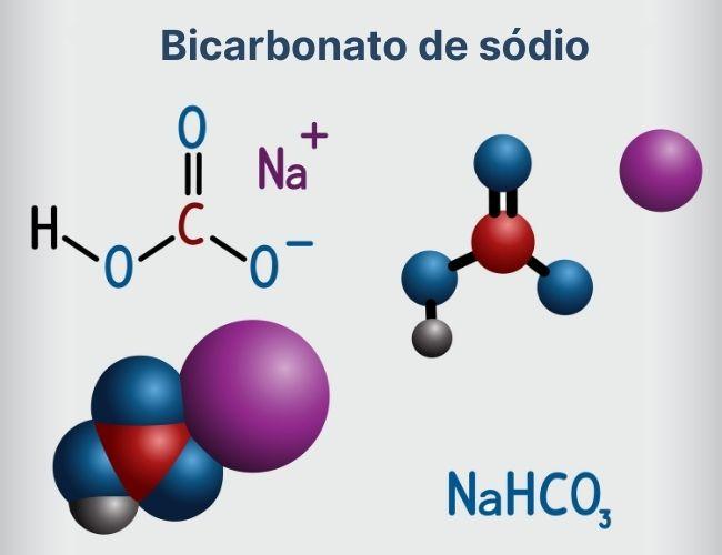Molécula de bicarbonato de sódio e sua fórmula molecular.