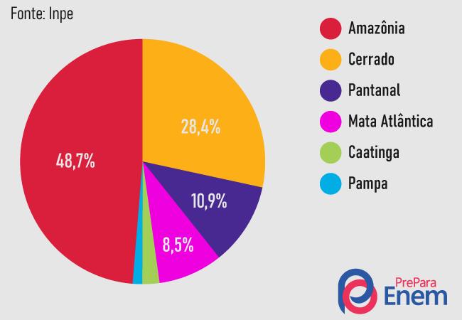Distribuição dos focos de queimadas por biomas brasileiros em 2020. Fonte: Inpe.