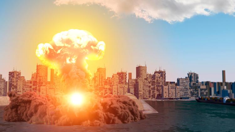 Imagem representativa da explosão de nitrato de amônio que aconteceu no porto de Beirute, no Líbano.