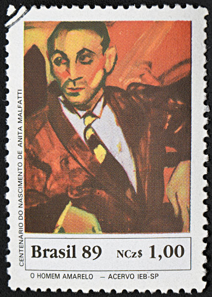 """""""O homem amarelo"""", de Anita Mafaltti, estampa um selo comemorativo ao centenário de nascimento dessa importante artista modernista. [1]"""
