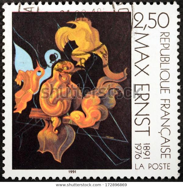 Esse selo de 1991, em comemoração ao centenário de Marx Ernst, reproduz sua pintura After us motherhood (1927). |1|