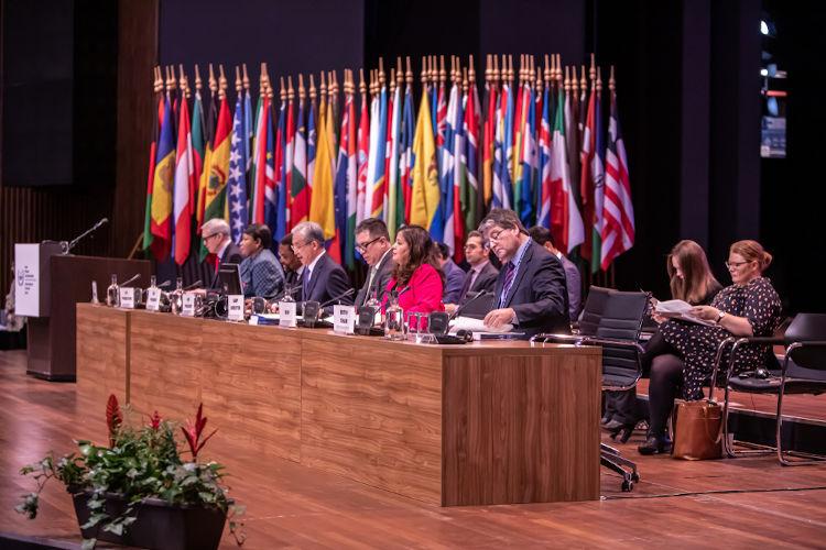 Assembleia dos países-membros realizada em 2019. Atualmente, 123 países fazem parte do Tribunal de Haia.[2]