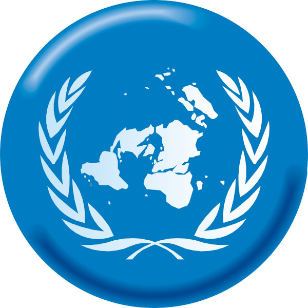 A projeção azimutal é o símbolo da ONU, pois permite a visualização de todos os continentes e indica o ideal de igualdade defendido pela organização.