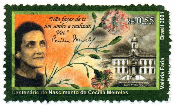 Selo dos Correios em comemoração ao centenário de nascimento de Cecília Meireles.[2]
