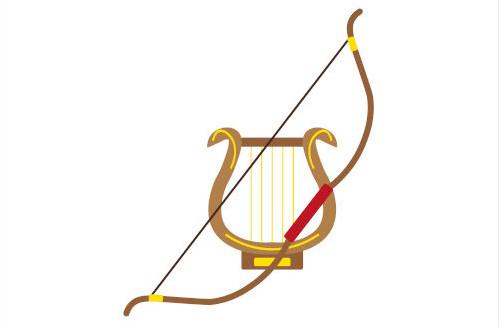 A lira e o arco e flecha eram dois importantes símbolos de Apolo.