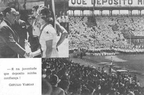 Cartão-postal feito pelo DIP valorizando a popularidade de Vargas e aproximando-o dos mais jovens. [1]
