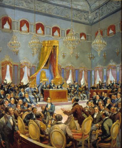 As Cortes portuguesas formaram-se em 1820 e tentaram recolonizar o Brasil revogando a abertura comercial.[1]
