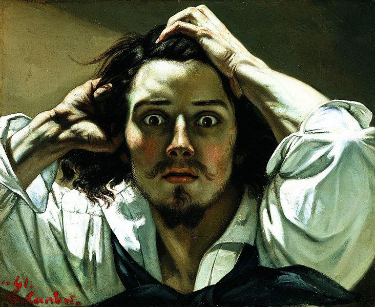 Os estilos de época não são exclusividades da literatura. A obra O homem desesperado, de Gustave Courbet, é um exemplo do realismo nas artes visuais.