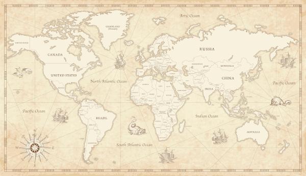 Os primeiros mapas-múndi concebidos pelo homem eram confeccionados à mão e tinham ilustrações representativas das rotas de navegação.