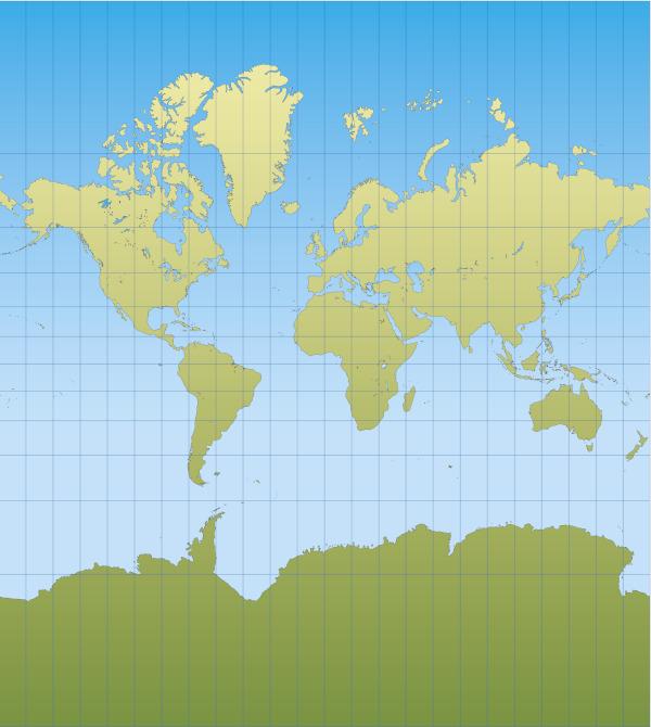 A projeção de Mercator é cilíndrica. A sua principal característica é a distorção do tamanho do território dos continentes.