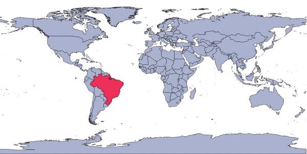 Território brasileiro em destaque no mapa-múndi.