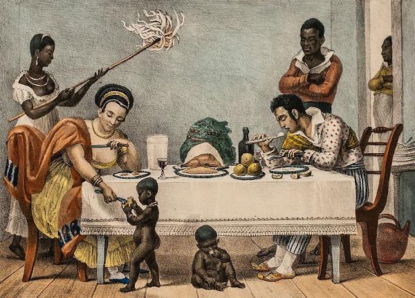 O jantar, de Jean-Baptiste Debret (1768-1848), é uma obra que retrata a escravidão doméstica no Brasil em princípios do século XIX.
