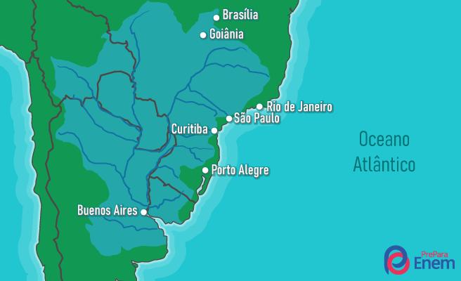 A Bacia Platina está presente em cinco países da América do Sul.