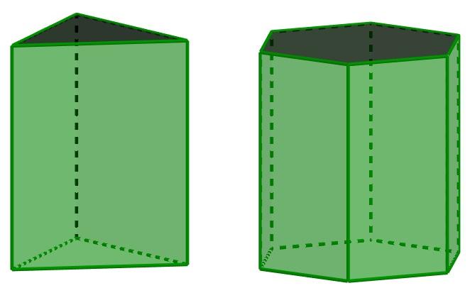 Prisma de base triangular e prisma de base hexagonal, respectivamente.