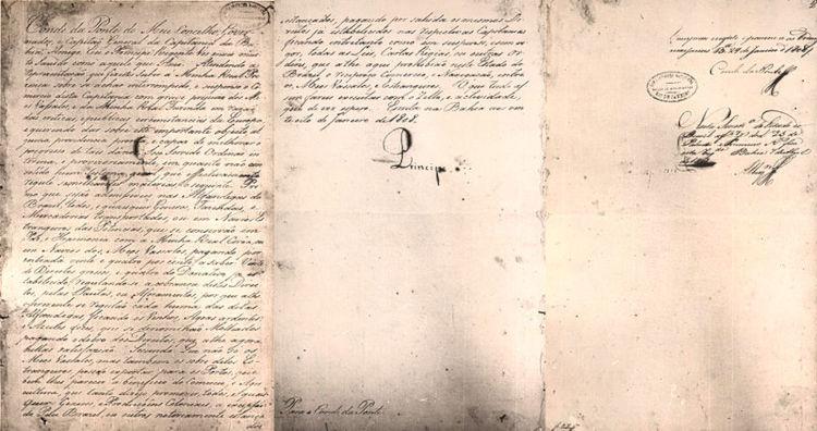 Decreto real assinado por d. João que determinava a abertura dos portos do Brasil no dia 28 de janeiro de 1808.[1]
