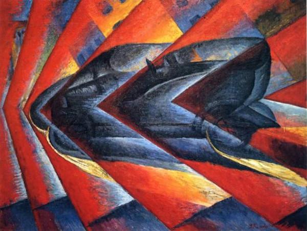 """A pintura """"Dinamismo de um automóvel"""" faz parte do acervo do Museu Nacional de Arte Moderna de Paris."""