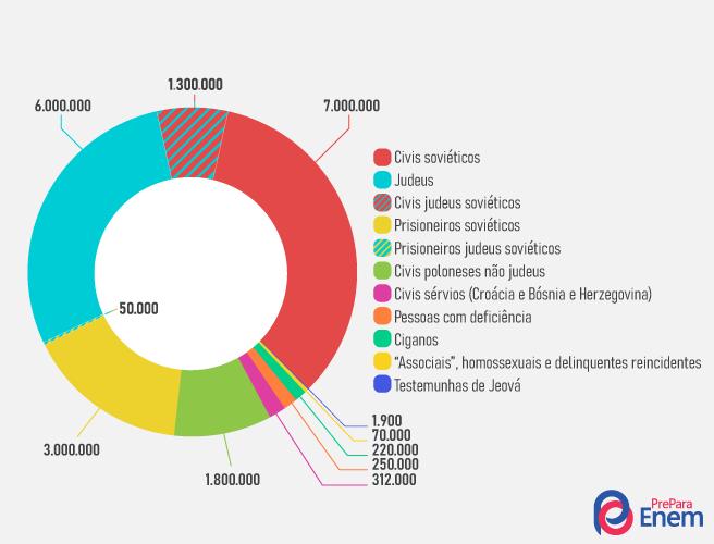 A imagem gráfica acima ilustra de maneira global e interseccional quais os grupos perseguidos e atingidos pelo holocausto.