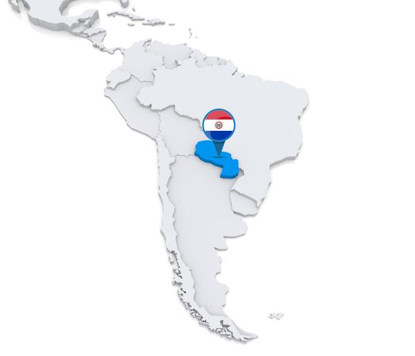 Mapa da América do Sul. Em destaque, o Paraguai.
