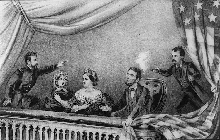 Desenho que representa o assassinato de Abraham Lincoln em 1865, enquanto assistia a uma peça teatral em Washington.