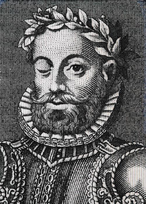 """Cego de um olho, Luís Vaz de Camões compôs a mais importante obra feita em língua portuguesa: """"Os Lusíadas""""."""