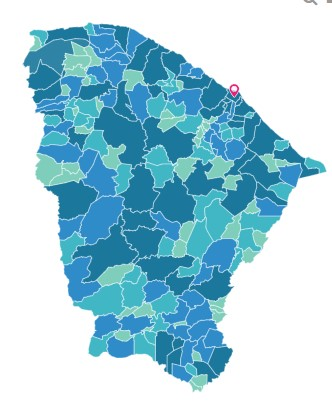 Divisão geográfica do Ceará, com os 184 municípios. Em destaque, a capital, Fortaleza.