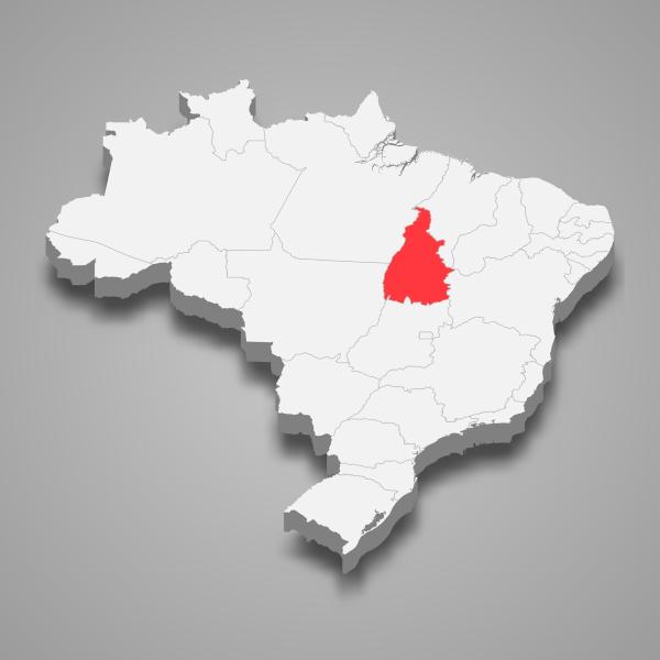 Localização do estado do Tocantins.