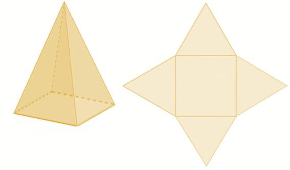 Pirâmide de base quadrada.