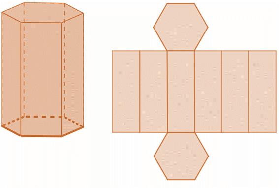 Planificação do prisma de base hexagonal.