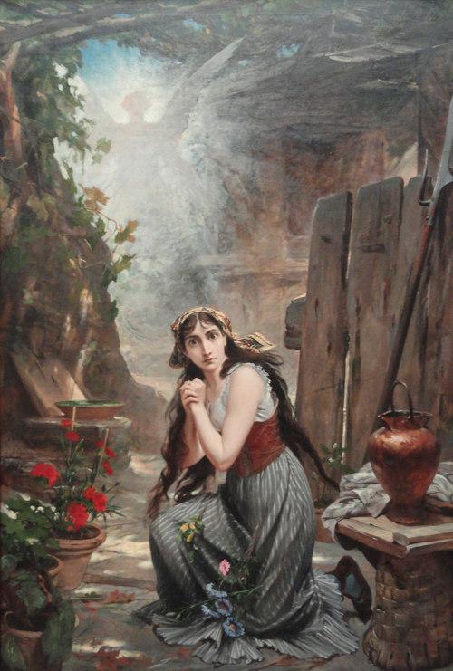 O pintor brasileiro Pedro Américo retratou Joana D'Arc ouvindo a mensagem do Arcanjo São Miguel, que determinou os rumos da sua vida.