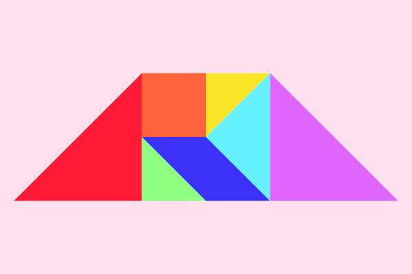 Trapézio construído com tangram.