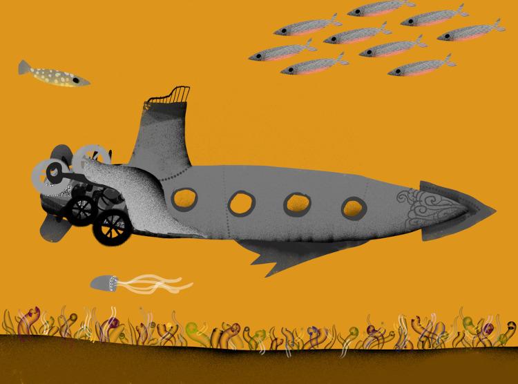 Ilustração de como seria um submarino imaginado por Júlio Verne.