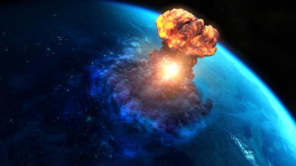Armas nucleares causam destruição em massa, que alcança vastos territórios.