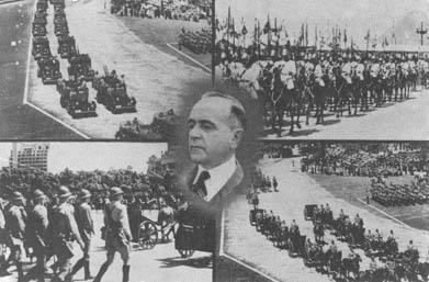 Cartão Postal, produzido pelo Departamento de Imprensa e Propaganda, demonstrando a centralização do poder na imagem de Getúlio Vargas. [1]