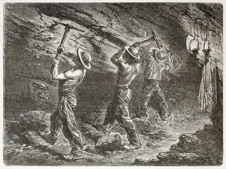 Gravura francesa, de 1867, representa o enorme esforço dos trabalhadores de minas de carvão.