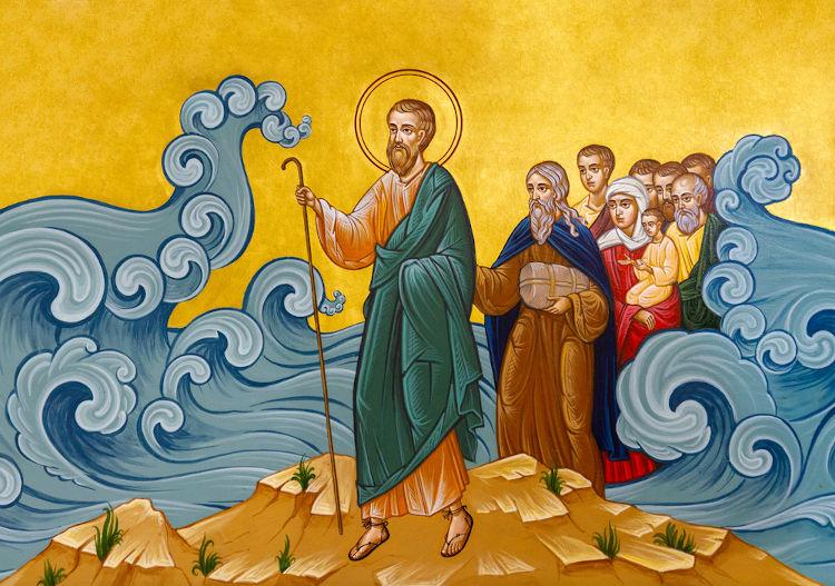 A libertação do povo judeu, celebrada na Páscoa judaica, foi liderada por Moisés e concluída após a passagem pelo Mar Vermelho.