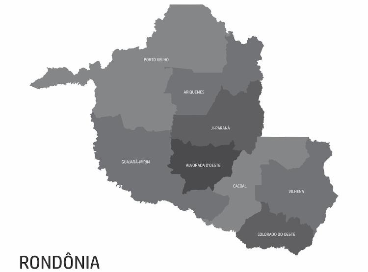 Mapa de Rondônia e as oito microrregiões do estado.
