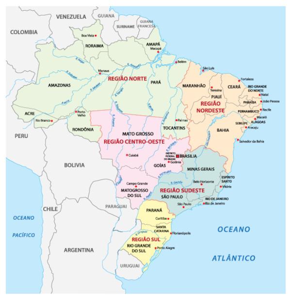 Mapa dos estados e capitais do Brasil.