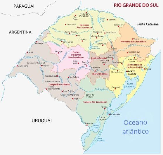 Divisão regional do Rio Grande do Sul.