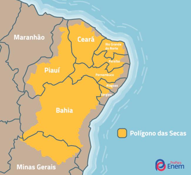 O Polígono das Secas compreende cidades brasileiras com alto índice de aridez, baixos índices pluviométricos e severas estiagens.