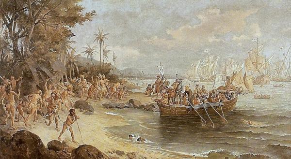 A esquadra de Cabral aportou no Brasil em 22 de abril de 1500.