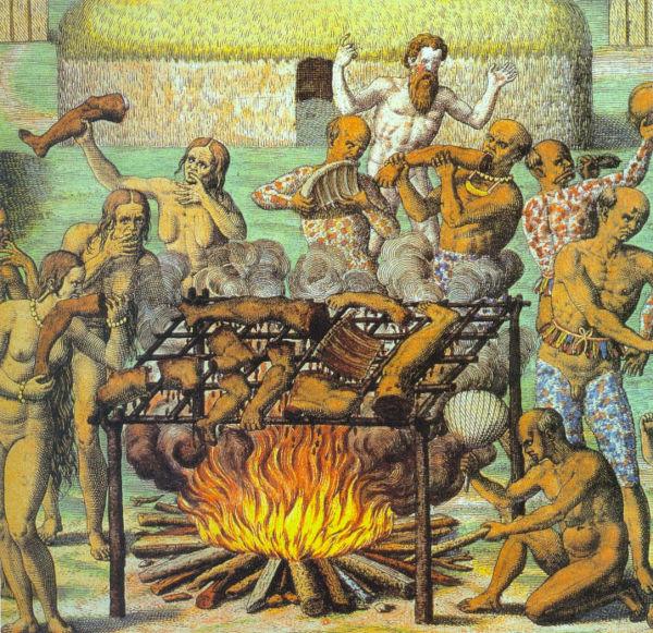 """""""Canibais"""", obra de Theodor de Bry (1528-1598)"""