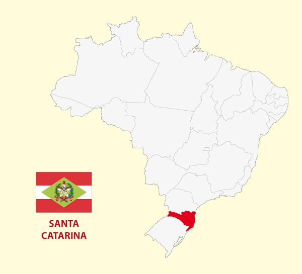 Localização e bandeira de Santa Catarina.
