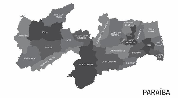 Mapa da Paraíba e suas 23 microrregiões.
