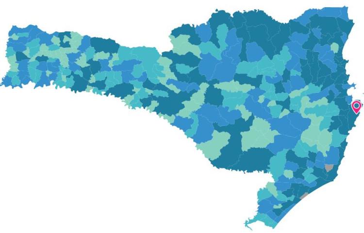 Mapa do estado de Santa Catarina. Em destaque, a capital Florianópolis. Fonte: IBGE.