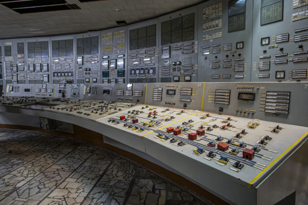Painel de controle da usina onde aconteceu o acidente de Chernobyl.[1]