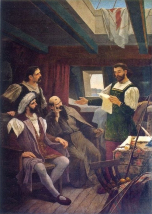 Nessa obra de Francisco Aurélio de Figueiredo e Melo (1854-1916), Pero Vaz de Caminha lê sua carta diante de Cabral, Frei Henrique e Mestre João.