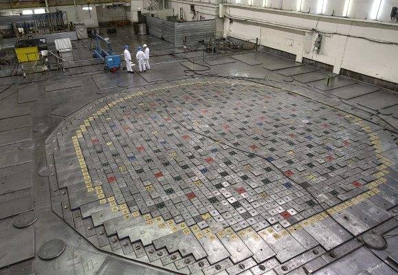 Reator nuclear RBMK-1000, igual ao usado em Chernobyl.[2]